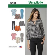 misses' top pattern includes loose fitting top with short sleeves, or faux wrap   top with long sleeves and elastic waist. leggings also includes. simplicity sewing pattern.