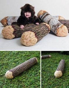 Chewed-timber log pillows