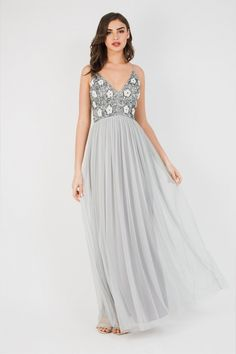 LACE&BEADS AVON GREY MAXI DRESS | LACE & BEADS DRESSES