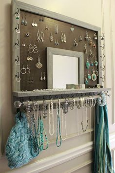 You Pick The Stain, Mesh and Hook Color, Leaf Trim and Mirror Series Wall Mounted Jewelry Organizer withBracelet Bar and Crystal Knobs - shop for jewelry, antique jewellery, shopping jewelry online *sponsored https://www.pinterest.com/jewelry_yes/ https://www.pinterest.com/explore/jewellery/ https://www.pinterest.com/jewelry_yes/online-jewellery/ https://www.shapeways.com/marketplace/jewelry/