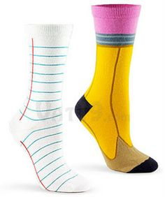 Paper & Pencil Socks - Cute for school :) crazy sock day!