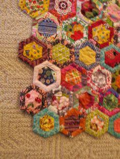 "New Handmade Jewel Toned Honeycomb Hexi Baby Crib or Throw Quilt 38""X50"" | eBay"