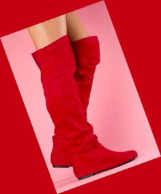 RED THIGH HIGH FLAT BOOTS in DivaLicious Boutique