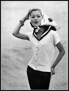 Australian top model, Diana Nixon, wears a cotton knit sailor middy by Bess Art, scarf by Léonard, photo by Georges Saad, 1960 | Flickr - Ph...