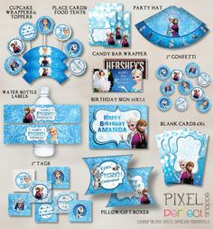 PERSONALIZED Frozen Party Pack, Frozen Party Supplies, Disney Frozen Party, Frozen Birthday, Disney Birthday, Frozen Birthday Party, Frozen on Etsy, $30.00