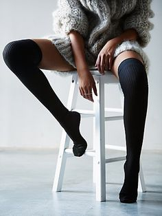 Free People Lola Sheer Rib Thigh Hi at Free People Clothing Boutique Lounge Outfit, Thigh High Socks, Thigh Highs, Free People Clothing, Socks And Sandals, Sexy Stockings, Thighs, Cute Outfits, Womens Fashion