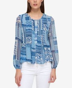 TOMMY HILFIGER Tommy Hilfiger Printed Peasant Top, Only At Macy'S. #tommyhilfiger #cloth # tops