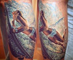 Surfing Ocean Waves Guy's Tattoo Designs