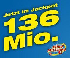 JACKPOT ALARM!  Morgen gibt es bis zu 136'000'000.- zu gewinnen mit Euro Millions!  Hast du noch Gratis-Spielguthaben aus einem Swisslos-Wettbewerb? Jetzt einsetzen lohnt sich, wieder einmal steigt der Euro Millions Jackpot, und ist schon bei 136 Millionen angelangt!  Hier mitmachen und Millionen gewinnen: http://www.gratis-schweiz.ch/gewinne-sagenhafte-136-millionen-franken/