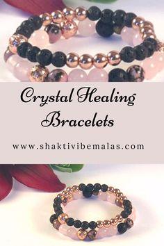 Aromatherapy jewelry gemstone bracelet set, beaded bracelets, healing crystal jewelry Rose Quartz Bracelet, Lava Bracelet, Stone Bracelet, Healing Crystal Jewelry, Healing Bracelets, Crystal Bracelets, Heart Chakra Healing, Aromatherapy Jewelry, Diffuser Jewelry