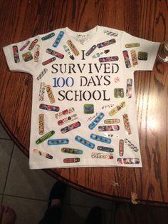 "100 days bandaid t-shirt: ""I survived one hundred days! 100 Day Of School Project, 100 Days Of School, School Projects, School Teacher, School Fun, School Stuff, 100 Day Shirt Ideas, 100days Of School Shirt, Teaching Calendar"