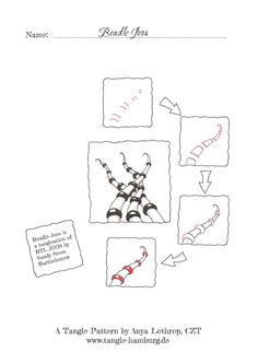 Beadle Joos tangle steps by Anya Lothrop based on BTL Joos by Sandy Steen Bartholomew Artsy Line based pattern steps.