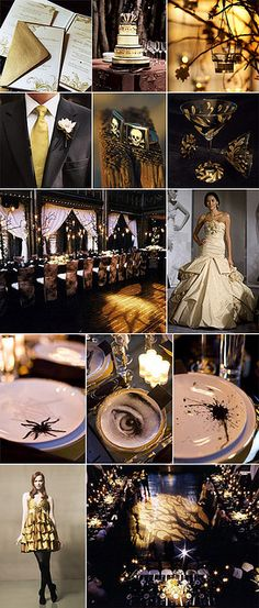 White, Black and Gold... I LOVE Halloween time so this would be an awesome wedding!