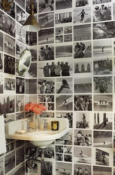 Powder Room with Corner Sink - Eclectic - Bathroom - John Hummel Memory Wand, Black And White Photo Wall, Eclectic Bathroom, Deco Boheme, Photo Wall Collage, Collage Walls, Picture Collages, Art Walls, Aesthetic Rooms