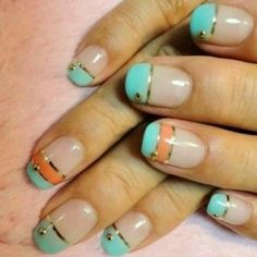 Peach and turquoise gold lined nails