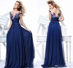 Cheap Corset Prom Dresses - Discount Royal Blue Evening Dresses Lace Crew Neck Illusion Online with $111.04/Piece | DHgate