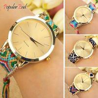 Vintage Retro Knit cuarzo correa mujeres hechos a mano pulsera pulsera relojes reloj 12