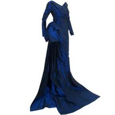 Christian Dior Haute Couture Long Blue Gown Provenance Betsey Bloomingdale 1988