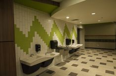 Image result for school restroom wall tile pattern Toilette Design, Restroom Design, Tile Patterns, Wall Tiles, Bathroom Lighting, Mirror, School, Image, Furniture