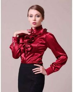 17 Best ideas about Satin Blouses Frill Blouse, Blouse And Skirt, Capsule Wardrobe, Sexy Bluse, Satin Bluse, Cute Blouses, Silk Blouses, American Girl, Red Satin