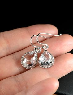 Bridal Drop Earrings Wedding Dangle Earrings Bridal Jewelry  crystal rhinestone Tear Drop Earrings Bridesmaid Gift ,peacock