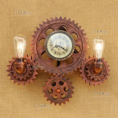 Steampunk Pipe & Gear Double Sconce Antique Copper Wall Lamp E27 Light Lighting #MZIndustrialLighting #Country
