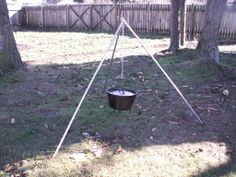This is a step by step guide to making a sturdy tripod you can use to hang a cook pot, dutch oven, coffee pot, or anything else you want to hold over a campfire.