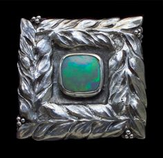 This is not contemporary - image from a gallery of vintage and/or antique objects. GUILD OF HANDICRAFT Attrib.  Arts & Crafts Brooch  Silver Opal