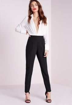 High Waisted Cigarette Trousers Black