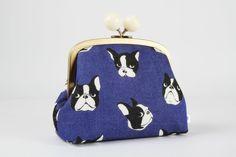 Metal frame clutch bag - Boston terrier in indigo blue - Color bobble purse / Modern japanese fabric / Kawaii cute dogs / Black white denim by octopurse on Etsy https://www.etsy.com/listing/239820557/metal-frame-clutch-bag-boston-terrier-in