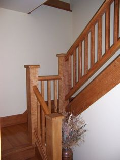 Best Natural Maple Wood Stairs White Bannister Benjamin Moore 400 x 300