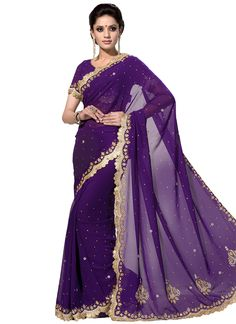 Buy Purple Embellished Scalloped Border Saree online from the wide collection of Saree.  This Purple  colored Saree in Faux Georgette  fabric goes well with any occasion. Shop online Designer Saree from cbazaar at the lowest price.