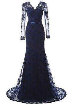 Women s Elegant Mermaid Prom Dress Lace and Tulle Evening Dress V-Neck Long  Prom Gown. Černé Šaty ... 2d101bdcf0
