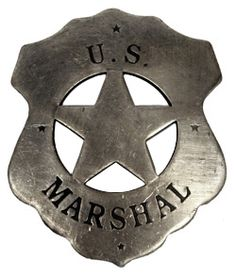 "The US Marshal service has been around since 1789, and is the oldest branch of US law enforcement.  The Marshal service was instrumental in bringing law and justice to the american west, including the famous shootout with the Dalton Gang in 1893.Carry on that proud tradition in our replica badge, authentic to the old west era.Heavy gauge metal badge with rustic finish, with spring pin backing. Approximately 2 3/4 "" high."
