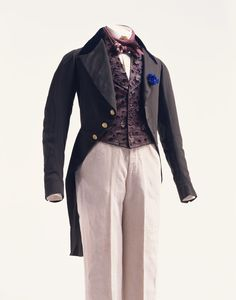 "Suit 1830s The Kyoto Costume Institute ""The gloss of high quality fabric without decoration accentuates the elaborative tailoring of these t..."