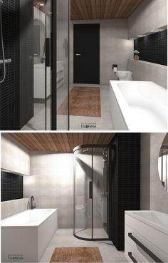 Kylpyhuoneen 3D-sisustussuunnitelma/ mikrosementti, musta mosaiiikkilaatta, pyöreä peili, seinä wc, suorareunainen tervaleppäpaneeli (joka käsitelty parafiiniöljyllä), valkoiset kiintokalusteet, valkoinen kylpyamme, musta väliovi/ 3D-sisustus Tilanna