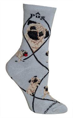 Pug Fawn Dog Breed Gray Lightweight Stretch Cotton Adult Novelty Socks