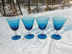 4 Blefeld Company Blue Crystal Glass Footed Wine Goblets | eBay 7.99/12.73