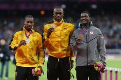 podium 100 mètres usain bolt et blake