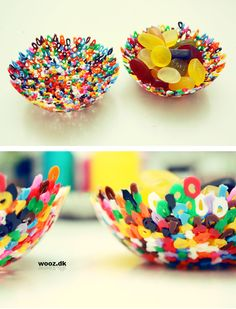 Hama bead bowl, heated with a hairdryer to melt. Melted Bead Bowl, Plastic Beads Melted, Melted Pony Beads, Fun Crafts, Diy And Crafts, Crafts For Kids, Arts And Crafts, Diy Projects To Try, Craft Projects