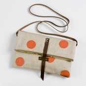 Foldover crossbody bag with hand cut leather dots (coral)