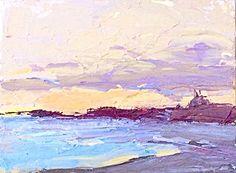 A Coastal Port by Sally Fraser Acrylic ~ 6 x 9