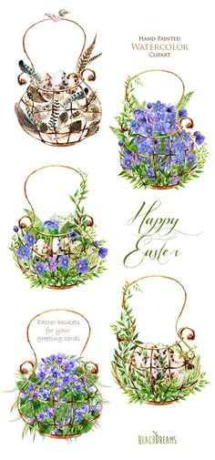 Easter watercolor clipart floral elements feathers eggs