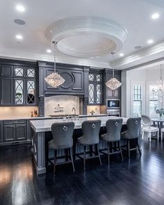 Gorgeous charcoal kitchen by @castlewoodcustombuilders