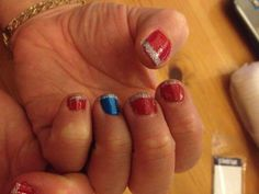 Blue & Red Polish With Silver Glitter Tips
