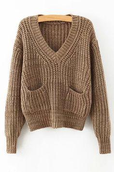 V-образным вырезом двумя карманами Обрезанные свитер