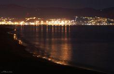 Noche en la playa de Málaga (Spain)