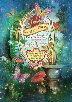 This item is unavailable Fairy Invitations, Garden Party Invitations, Shower Invitations, Birthday Invitations, Invites, 1st Birthday Themes, Fairy Birthday Party, 4th Birthday, Butterfly Birthday