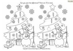Lots of Holiday Printables Find the differences - Christmas tree Christmas Puzzle, Christmas Crafts For Kids, Christmas Colors, Christmas Fun, Holiday, Christmas Worksheets, Christmas Printables, Craft Activities For Kids, Puzzles For Kids