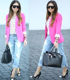 Dittos Boyfriend Jeans, Forever 21 Shoes, Express Polka Dots Blouse